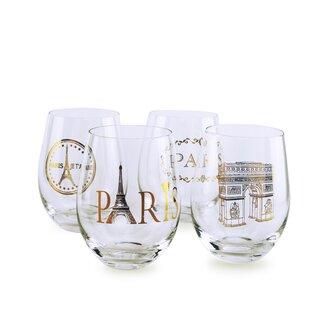 4-Piece 19 oz. Stemless Wine Glass Set