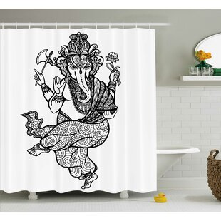 Castro Indian Asian Elephant Goddess With Axe And Lotus Mandala Style Ritual Sketch Print Single Shower Curtain by World Menagerie Coupon