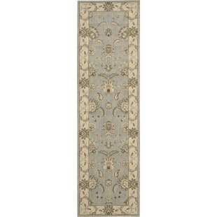 Humphries Wool Aqua/Beige Area Rug by Alcott Hill