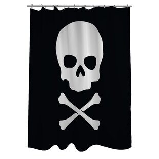 Skull Crossbones Single Shower Curtain