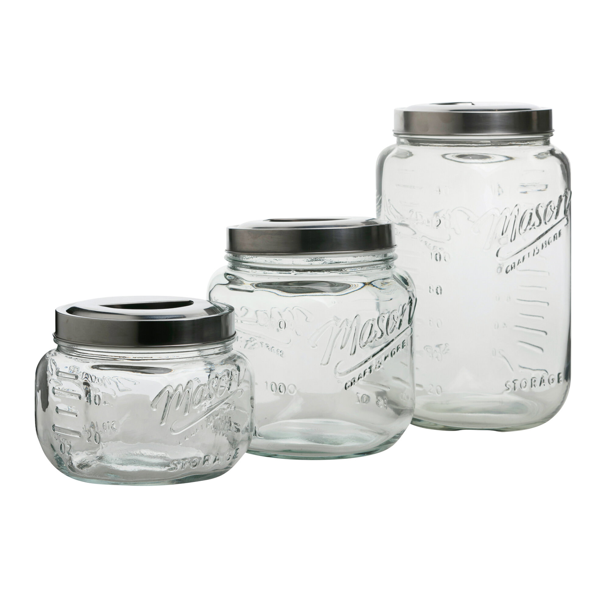 Mason Craft More Glass Pop Up 3 Piece Storage Jar Set Reviews Wayfair Ca