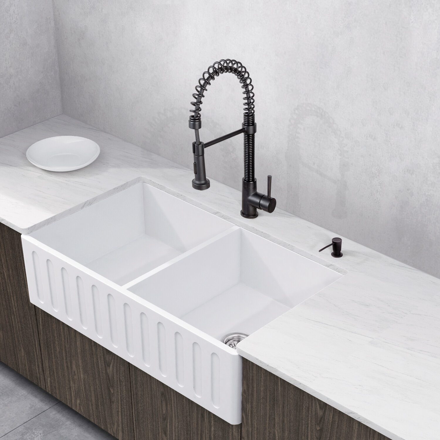 Stone 36 L X 18 W Double Basin Farmhouse Kitchen Sink With Faucet