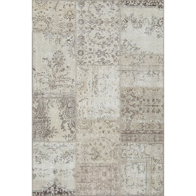 Catharine Antique Patchwork Hand Knotted Cream Area Rug Bloomsbury Market Rug Size Rectangle 311 X 511