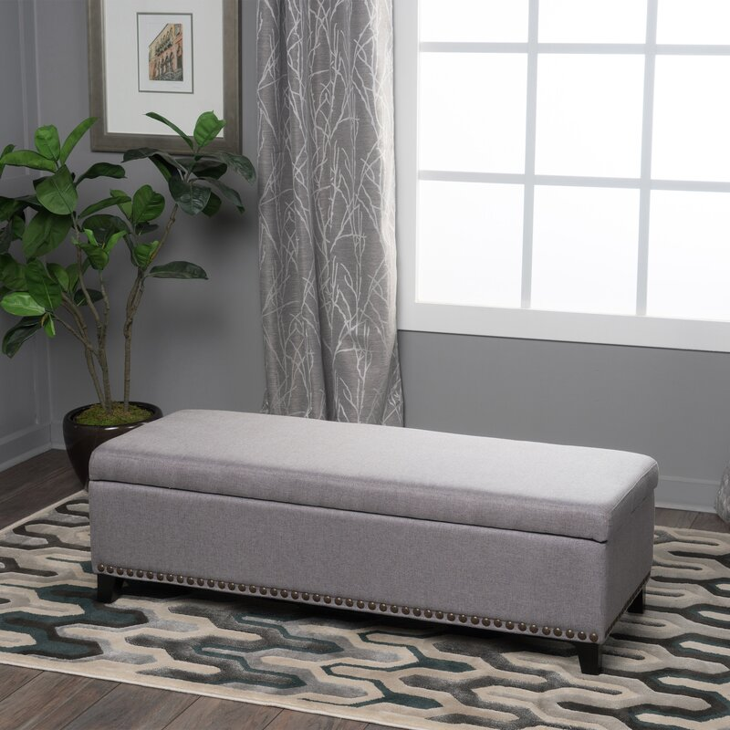 stipe upholstered storage bench