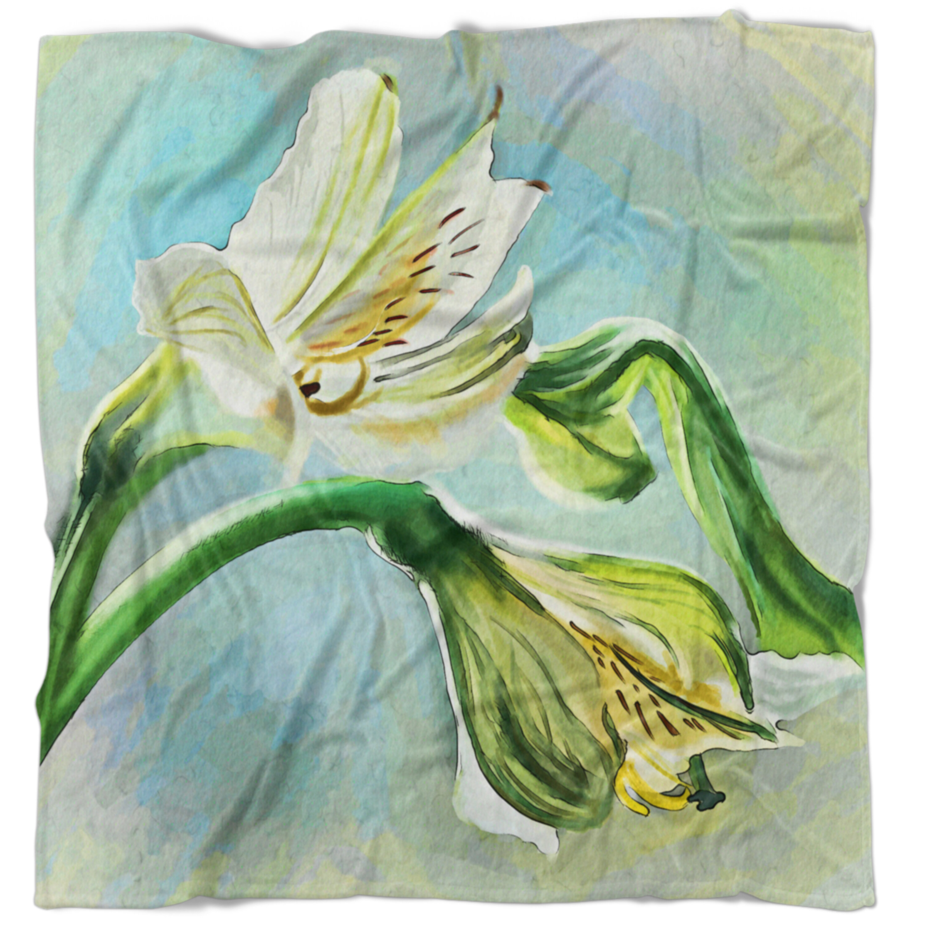 East Urban Home Floral Lily Flower Sketch Watercolor Blanket Wayfair