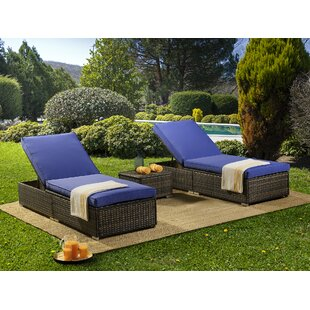 Brampt Sun Reclining Chaise Lounge with Cushion and Table by Orren Ellis