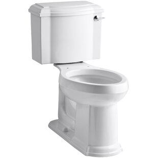 Kohler Devonshire Comfort Height Two-Piece Elongated 1.28 GPF Toilet with Aquapiston Flush Technology and Right-Hand Trip Lever