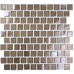 "Landscape Abolos 1"" x 1"" Glazed V1-Uniform Appearance Dark Gray Glass Handmade Backsplash Bathroom Mosaic Wall & Floor Tile by"