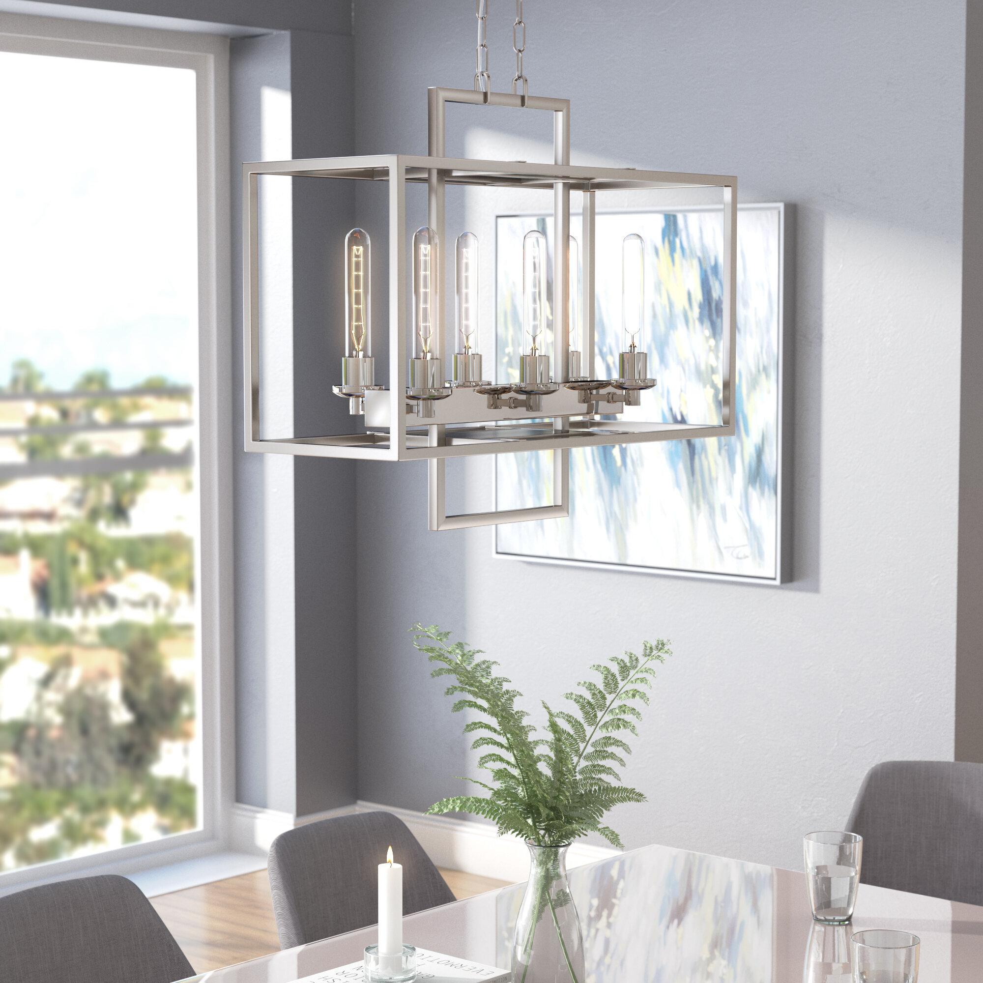 Ivy Bronx Cossey 6 Light Kitchen Island Linear Pendant Reviews Wayfair