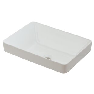 Hazelwood Home Ceramic Rectangular Vessel Bathroom Sink