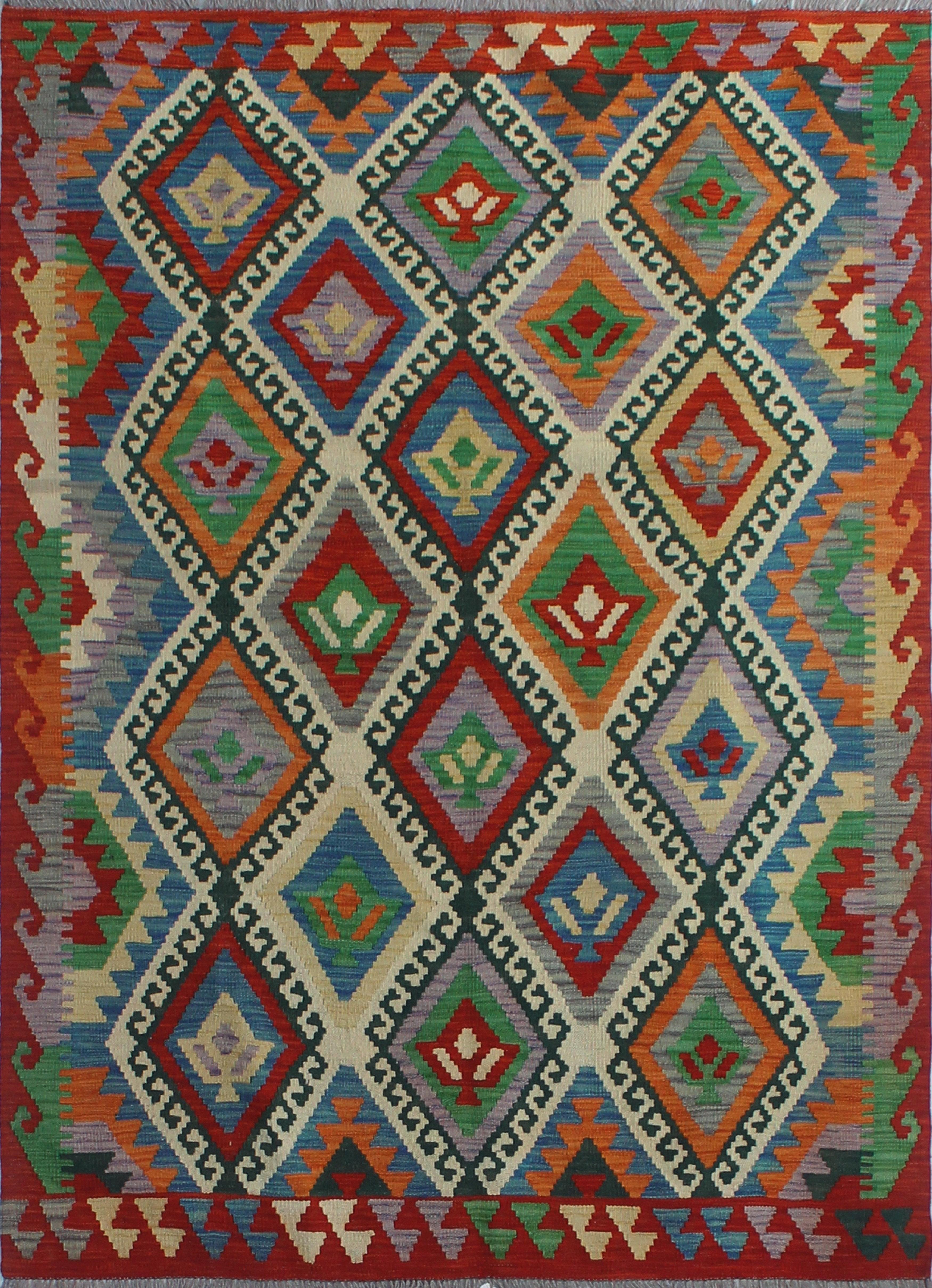 Foundry Select Hults Southwestern Handmade Kilim Wool Red Area Rug Wayfair