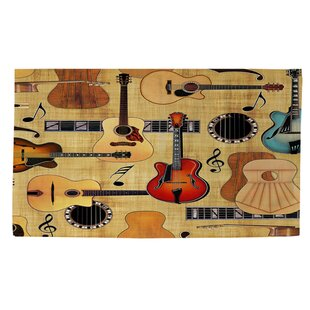Best Price Guitar Collage Cream Area Rug ByManual Woodworkers & Weavers