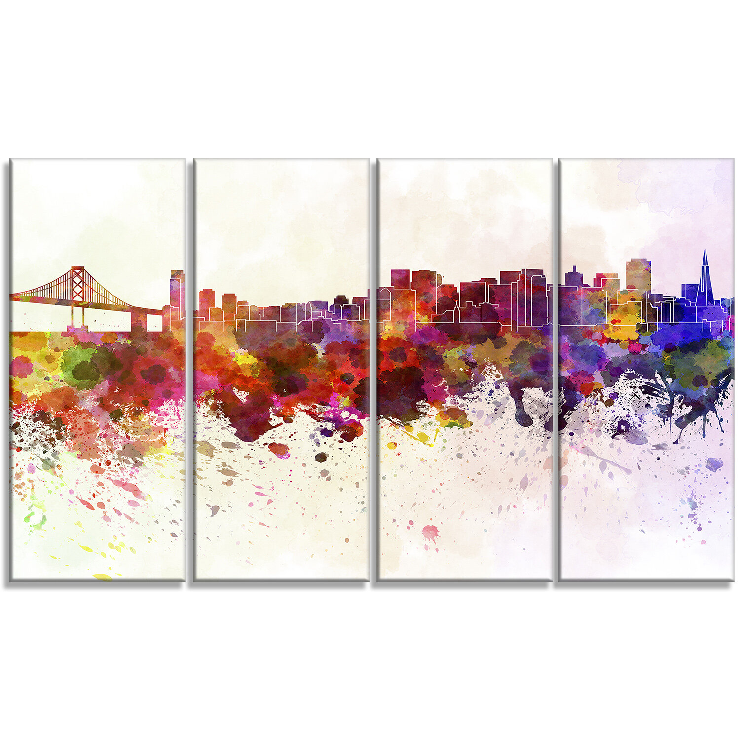 Designart San Francisco Skyline Cityscape 4 Piece Painting Print On Wrapped Canvas Set Wayfair