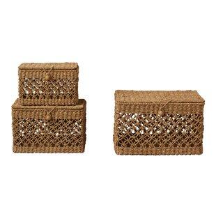Macrame Weave Truck Ship Bankuan Rope 3 Piece Basket Set