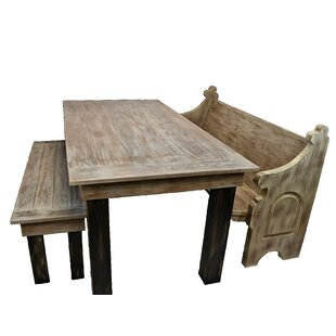 Zaragoza Solid Oak Farm Table Garden Bench Gracie Oaks