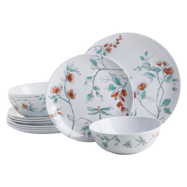 Martha Stewart Martha 12 Piece Melamine Dinnerware Set Service For 4 Reviews Wayfair
