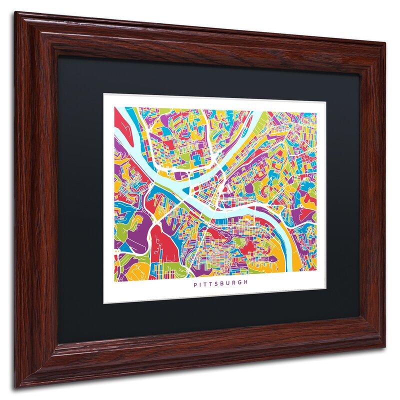 Trademark Art Pittsburgh Street Map Framed Graphic Art Print On Canvas Wayfair