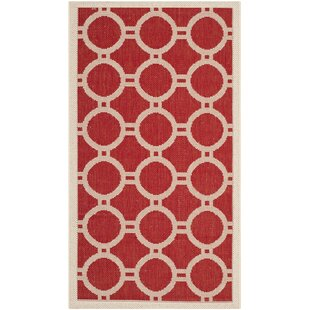 Jefferson Place Red/Bone Outdoor Rug by Wrought Studio