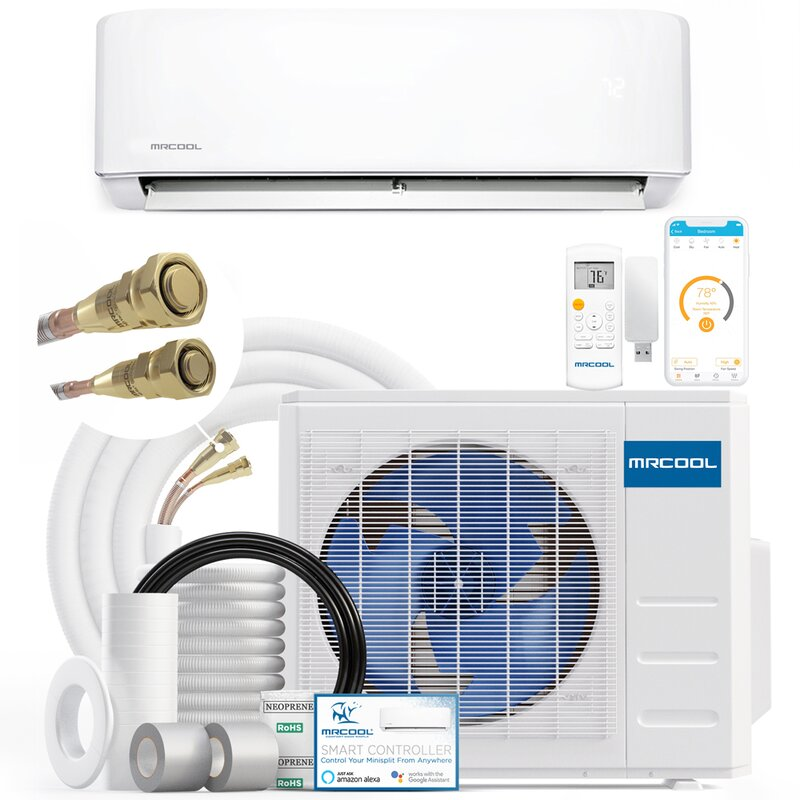 Mrcool 23 000 Btu Energy Star Ductless Mini Split Air Conditioner With Heater And Remote Wifi Control Wayfair