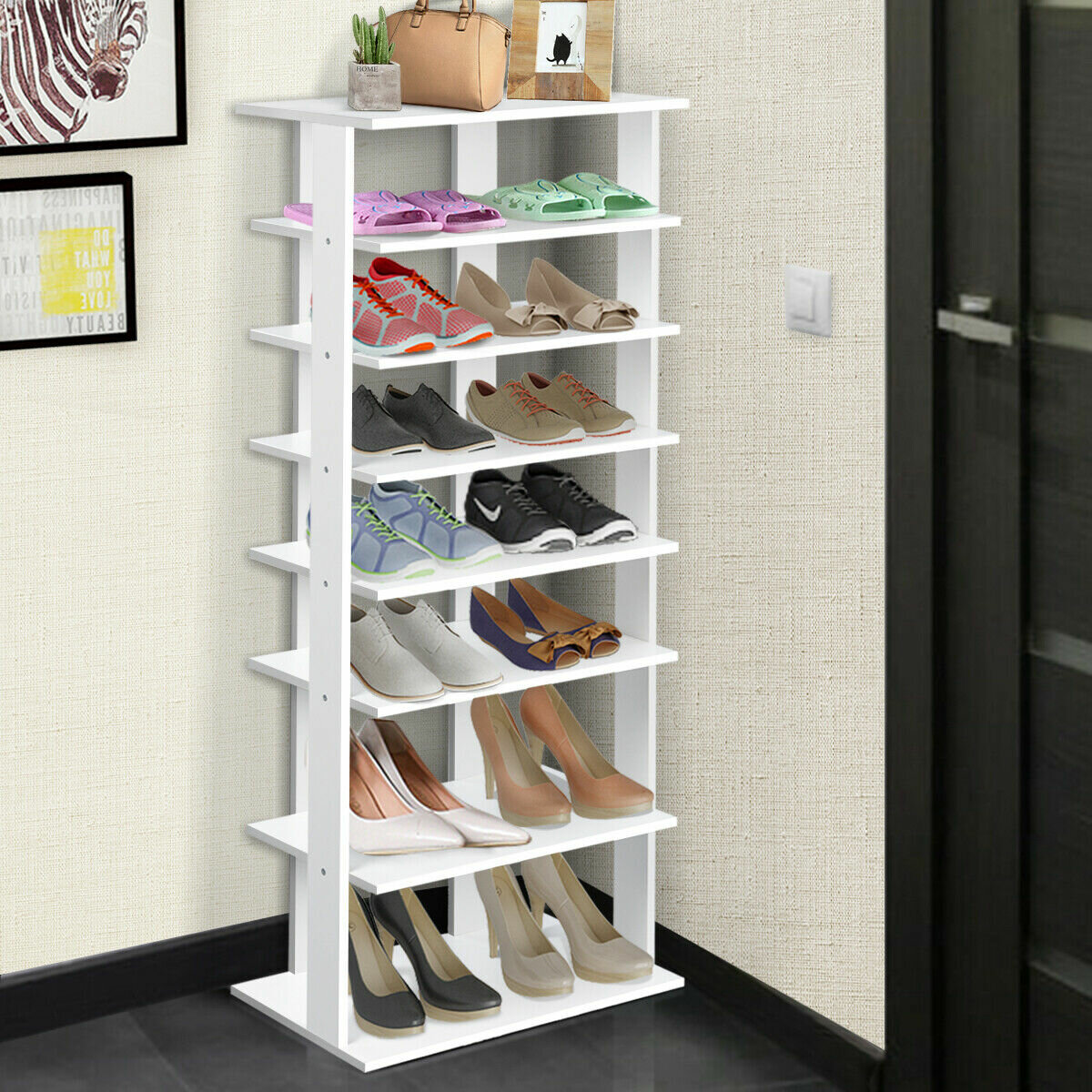 Rebrilliant 7 Tier Dual 14 Pair Shoe Rack Reviews Wayfair