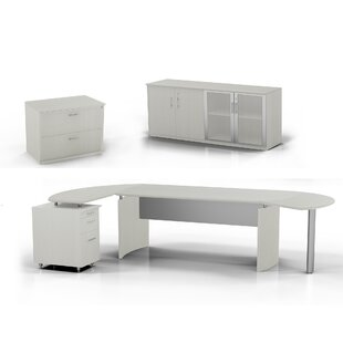 Medina Computer Desk with Pedestal, Low Wall Cabinet and Lateral File