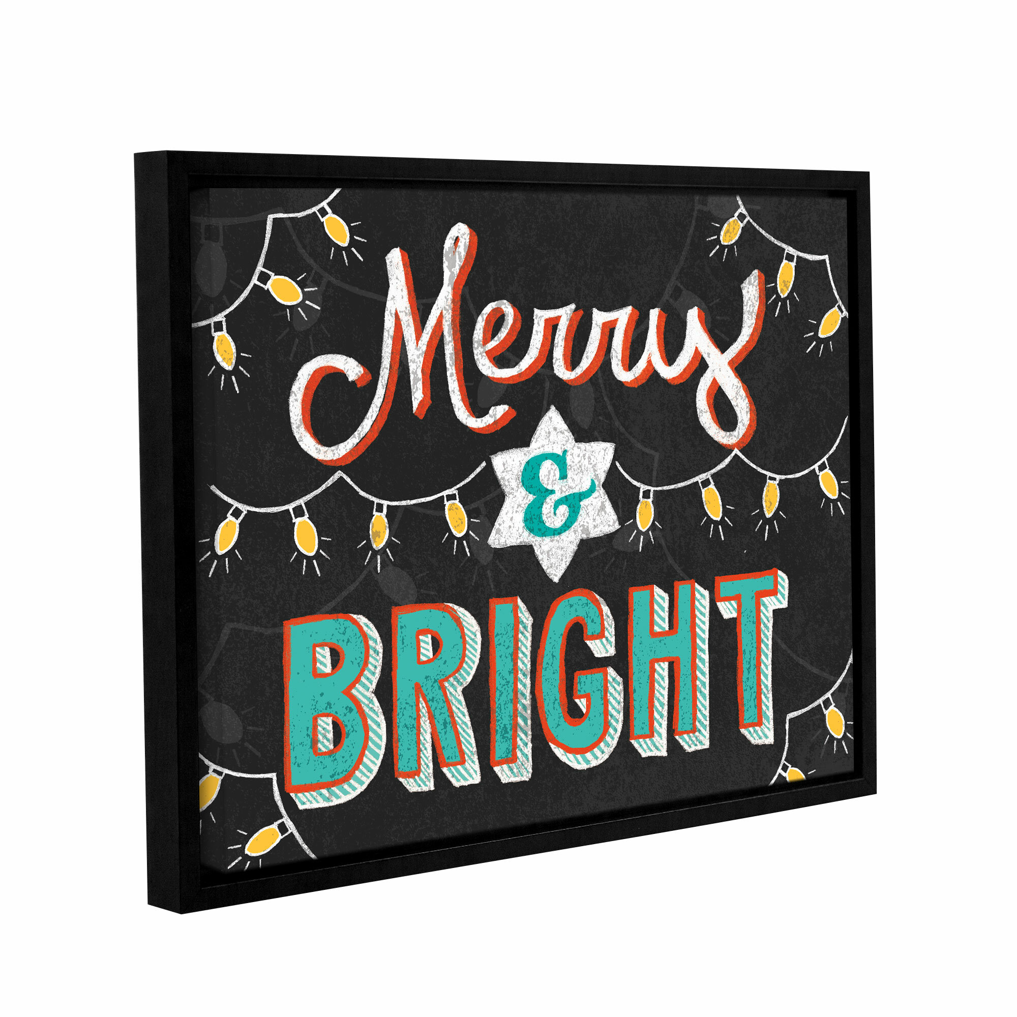 The Holiday Aisle Merry And Bright Black Framed Textual