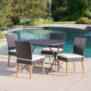 Ivy Bronx Catalano Outdoor Wicker 5 Piece Dining Set with Cushions