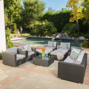 Benbow 8 Piece Rattan Sectional Seating Group with Cushions
