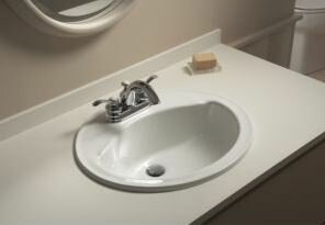 Sterling by Kohler Sanibel Ceramic Circular Drop-In Bathroom Sink with Overflow
