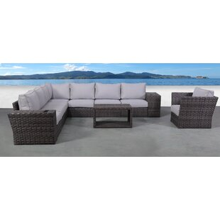 Rosecliff Heights Cochran 11 Piece Rattan Sectional Seating Group with Cushions