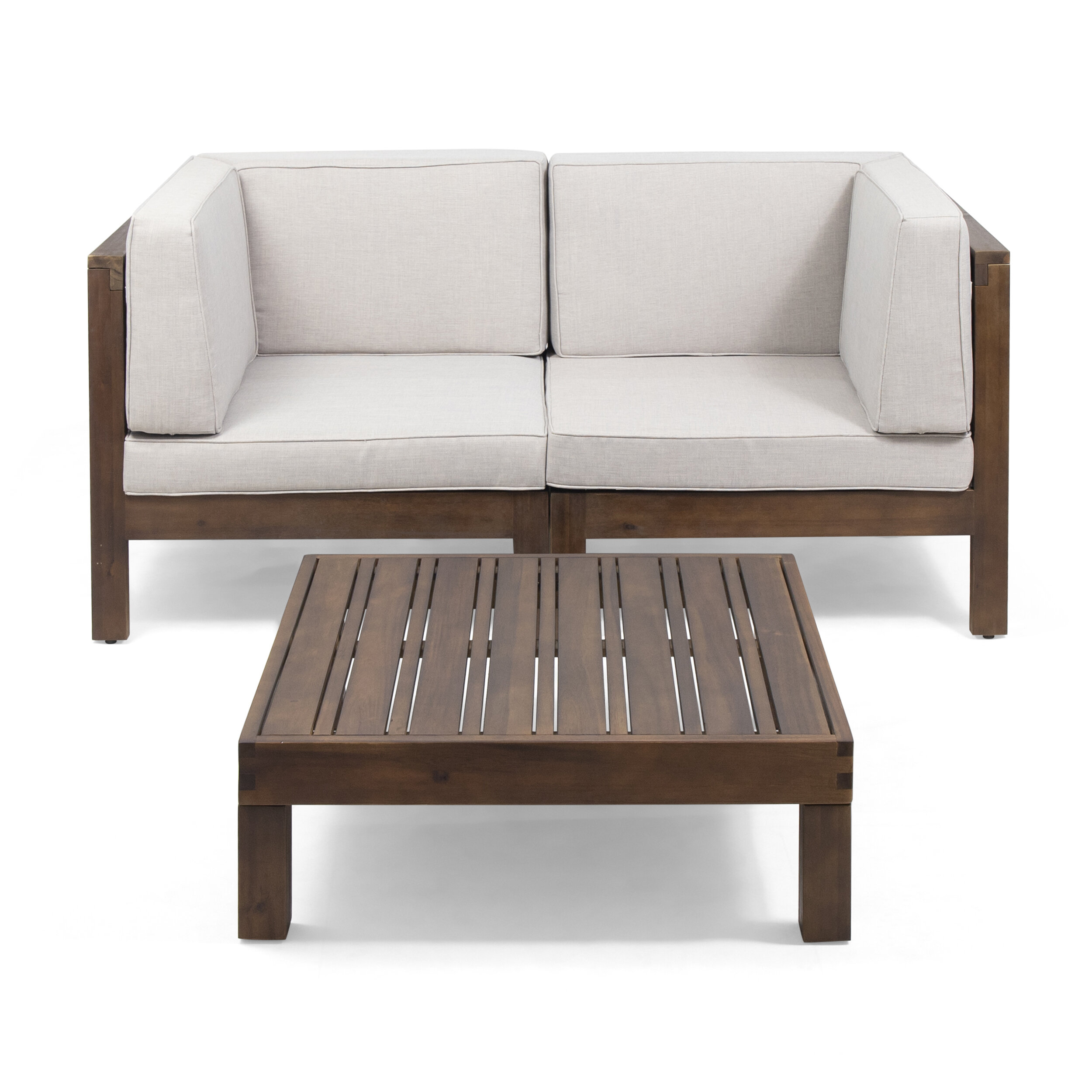 Patel Outdoor Modular 3 Piece Sofa Seating Group with Cushions