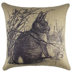 Rabbit Burlap Throw Pillow