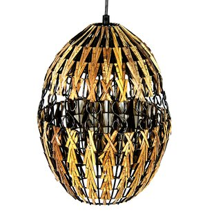 Bloomsbury Market Halliburton Rattan 1-Light LED Hanging Lantern