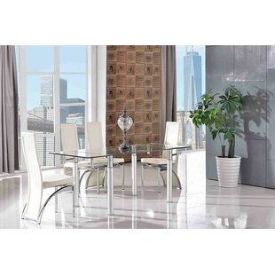 Bexhill-on-Sea Steel Clear Glass Dining Set With 4 Chairs By Metro Lane