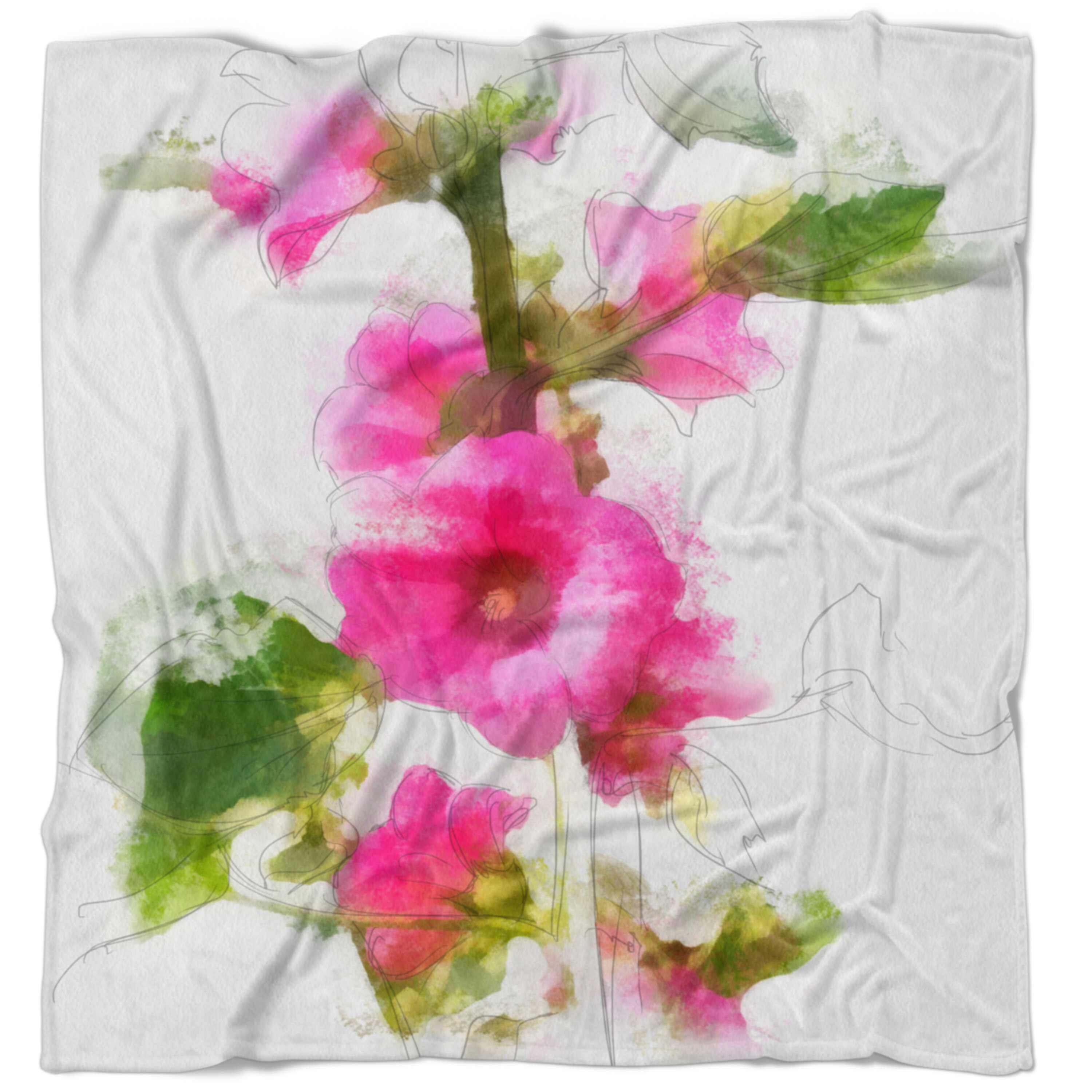 East Urban Home Floral Flower With Stem And Leaves Blanket Wayfair