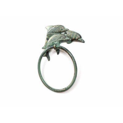 Cast Iron Dolphins Towel Ring Handcrafted Nautical Decor Finish: Green