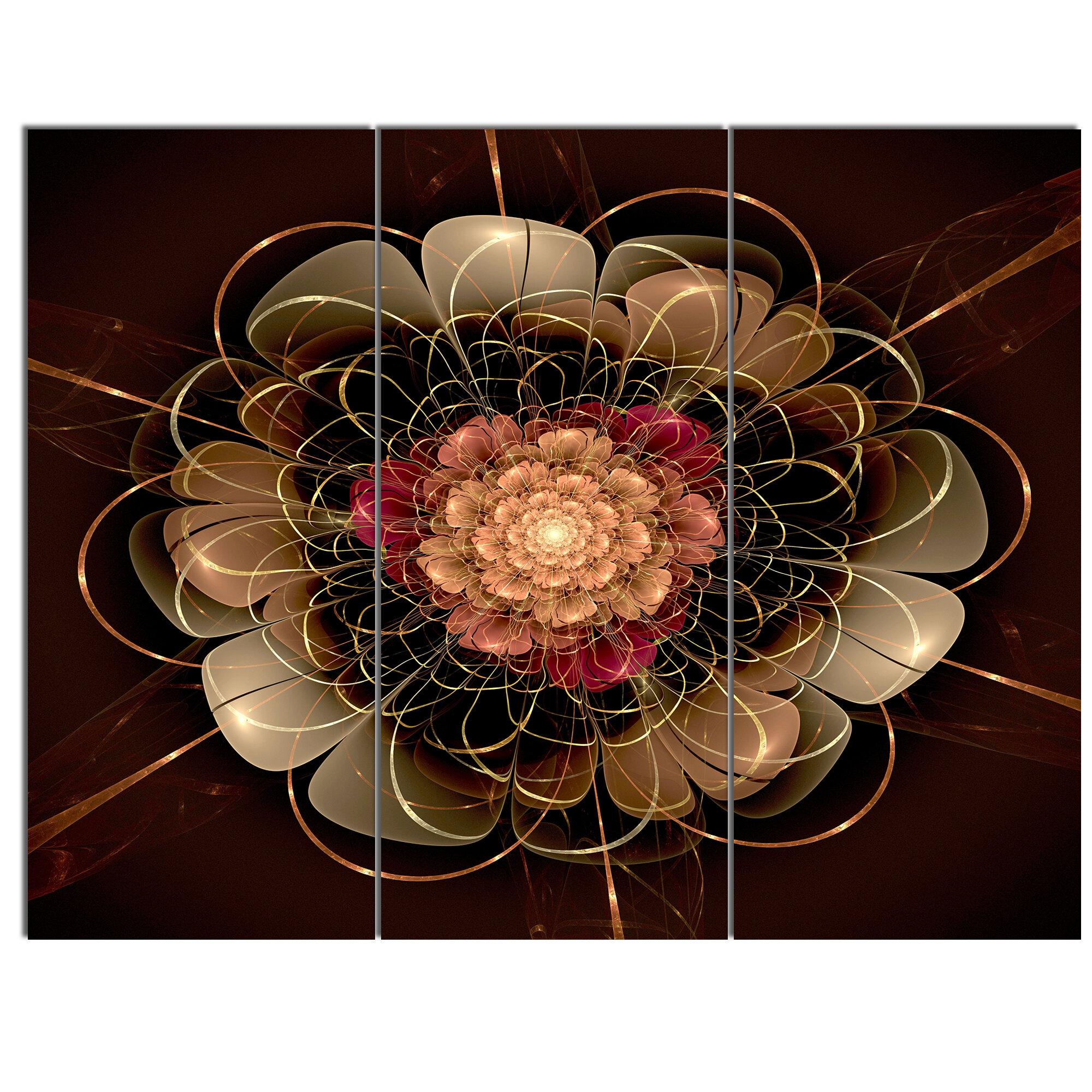 Designart Dark Gold Red Fractal Flower Pattern 3 Piece Graphic Art On Wrapped Canvas Set Wayfair