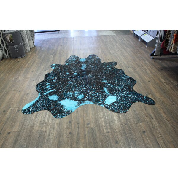 Brayden Studio Minton Cowhide Teal Brown Area Rug Wayfair