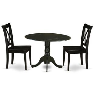 Willimantic 3 Piece Drop Leaf Solid Wood Breakfast Nook Dining Set