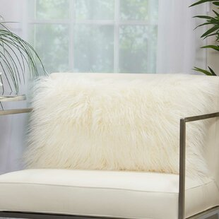 Dodge Faux Fur Solid Throw Pillow