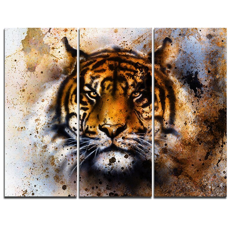 Designart Tiger Collage With Rust Design 3 Piece Graphic Art On Wrapped Canvas Set Wayfair