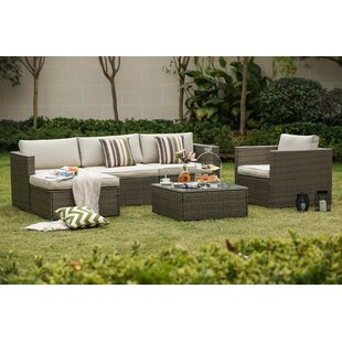 Leonora 6 Piece Rattan Sectional Set with Cushions