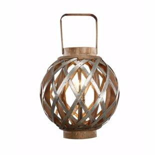 Charmingly Designed Round Wood Lantern by Gracie Oaks