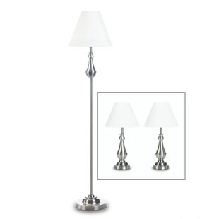 Jovita Turned High Polish 3 Piece Table and Floor Lamp Set