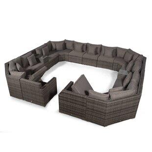 Villasenor Grey Rattan U Shape 13 Seat Sofa With 2 X Rectangle Coffee Table + 2 X Drinks Cooler, Outdoor Patio Garden Furniture Image