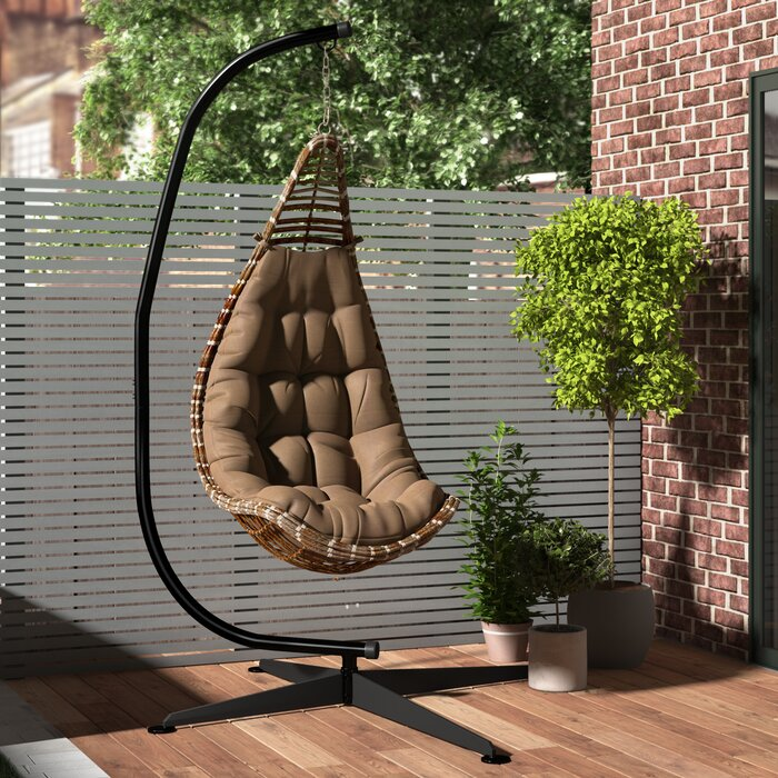 cushions ml hammock frame swing and back garden seat with brown textoline metal seater