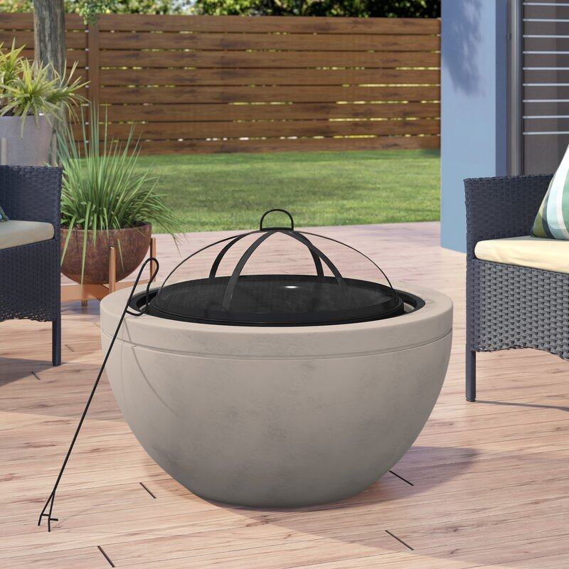 Ebern Designs Colis Concrete Wood Burning Fire Pit Reviews Wayfair