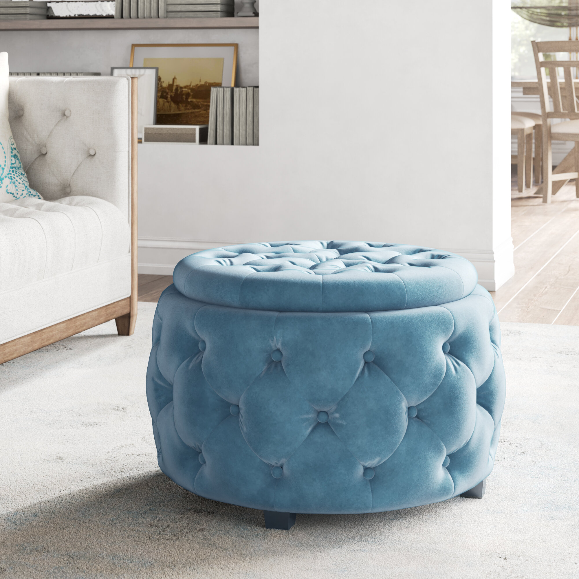 Blue Storage Ottomans Poufs You Ll Love In 2021 Wayfair