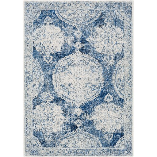 Arteaga Distressed Vintage Medallion Blue White Area Rug