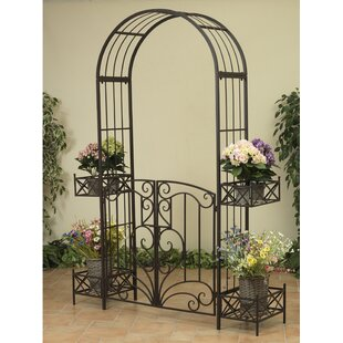 Gerson International Garden Metal Arbor with Gates and Planters